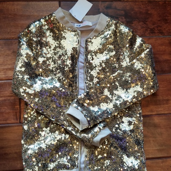 0603370c2 H&M Girls Youth Gold Sequin Bomber Jacket NWT 7/8.  M_5c0ca3fc9539f7419f1fd064